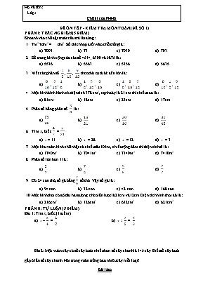 5 Đề ôn tập, kiểm tra môn Toán Lớp 4