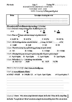 Bài kiểm tra định kỳ cuối năm môn Toán Lớp 5 - Năm học 2019-2020