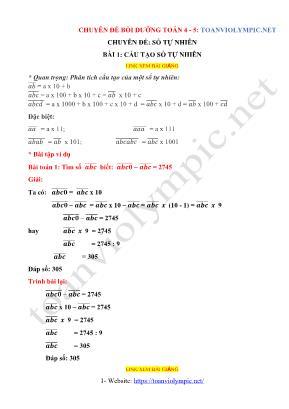 Chuyên đề bồi dưỡng môn Toán Lớp 4 + 5 - Bài 1: Cấu tạo số tự nhiên