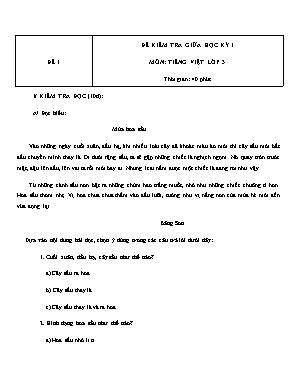 Đề kiểm tra giữa học kỳ 1 môn Tiếng Việt Lớp 3