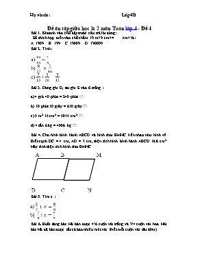 Đề ôn tập giữa học kỳ 2 môn Toán Lớp 4 - Đề 4