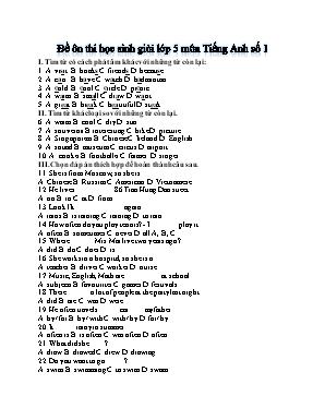 Đề ôn thi học sinh giỏi môn Tiếng Anh Lớp 5 (Đề số 1)