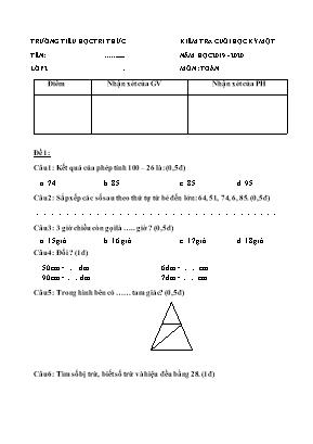 Đề thi học kỳ I môn Toán Lớp 2 - Trường Tiểu học Tri thức