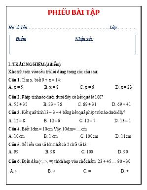 Phiếu bài tập trắc nghiệm và tự luận môn Toán Lớp 2