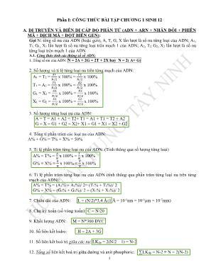 Phương pháp giải và bài tập môn Sinh học Lớp 12