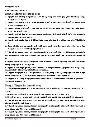 Bài tập Hóa học Lớp 10 - Chương 1: Nguyên tử - Huỳnh Ngọc Tài