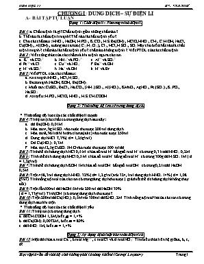 Bài tập Hóa học Lớp 11 - Chương I: Dung dịch - Sự điện li - V.T.N.Thư
