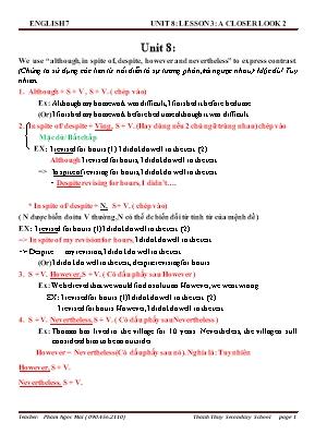 Bài tập ôn tập Tiếng Anh Lớp 7 - Unit 8 - Phạm Ngọc Mai
