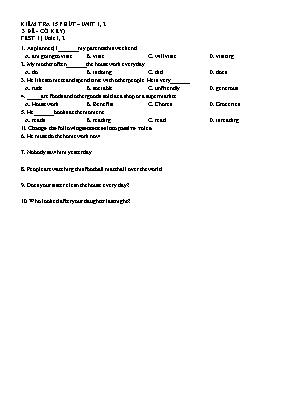 Bộ đề kiểm tra 15 phút môn Tiếng Anh 10