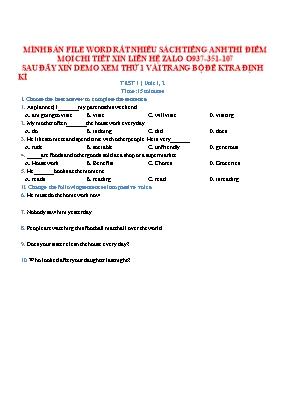 Bộ đề kiểm tra 15 phút môn Tiếng Anh Lớp 10