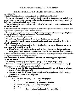 Chuyên đê ôn thi học sinh giỏi Sinh học 9