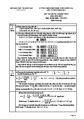 Đáp án đề thi chính thức môn Hóa học - Ngày thứ 1 - Kỳ thi chọn học sinh giỏi quốc gia Lớp 12 THPT năm 2011