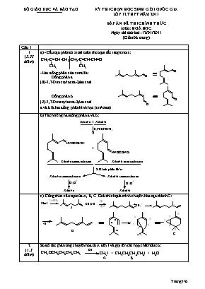 Đáp án đề thi chính thức môn Hóa học - Ngày thứ 2 - Kỳ thi chọn học sinh giỏi quốc gia Lớp 12 THPT năm 2011