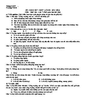 Đề khảo sát chất lượng đầu năm môn Ngữ văn Lớp 7 - Nguyễn Thị Bưởi