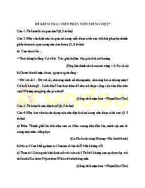 Đề kiểm tra 1 tiết phân môn Tiếng Việt 7