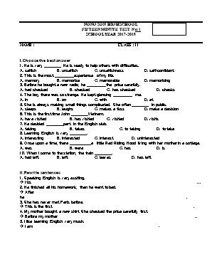 Đề kiểm tra 15 phút môn Tiếng Anh Lớp 11 - Trường THPT Nông Sơn