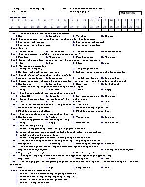 Đề kiểm tra 45p môn Công nghệ Lớp 11 (Mã đề 155) - Năm học 2012-2013 - Trường THPT Thạnh Mỹ Tây