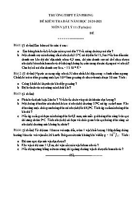 Đề kiểm tra đầu năm học 2020-2021  Môn Vật lý 11 (Tự luận) -Trường THPT Tân Phong
