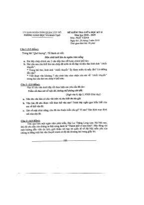 Đề kiểm tra giữa học kỳ II môn Ngữ văn Lớp 8 - Năm học 2018-2019 - Phòng giáo dục và đào tạo Tây Hồ (Có đáp án)
