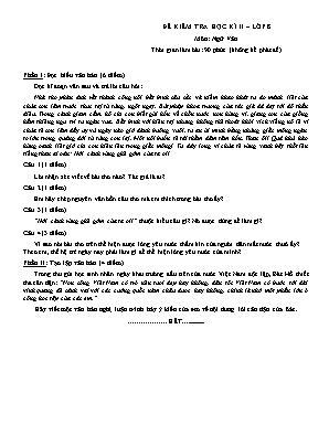 Đề kiểm tra học kỳ II môn Ngữ văn Lớp 8 (Có đáp án)