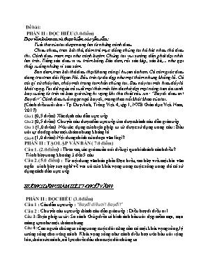 Đề kiểm tra một tiết môn Ngữ văn Lớp 9 - Tiết 74