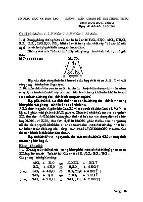 Đề thi học sinh giỏi môn Hóa học năm 2006 - Bảng A phần Hóa vô cơ