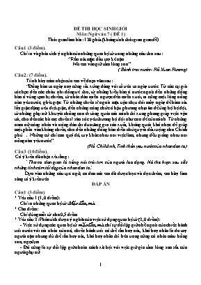 Đề thi học sinh giỏi môn Ngữ văn Lớp 7 (Có đáp án)