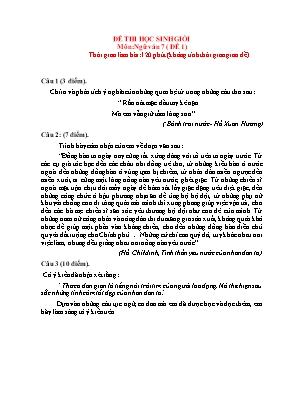Đề thi học sinh giỏi môn Ngữ văn Lớp 7 - Đề 1 (Có đáp án)