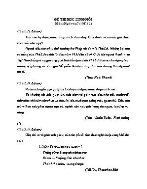 Đề thi học sinh giỏi môn Ngữ văn Lớp 7 - Đề 12 (Có đáp án)