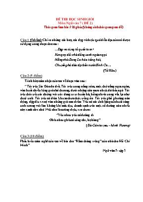 Đề thi học sinh giỏi môn Ngữ văn Lớp 7 - Đề 2 (Có đáp án)