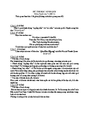 Đề thi học sinh giỏi môn Ngữ văn Lớp 7 - Đề 3 (Có đáp án)