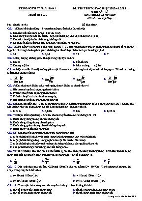 Đề thi thử Tốt nghiệp môn Vật lý năm 2020 - Lần 2 - Mã đề 202 - Trường THPT Nam Đàn 1