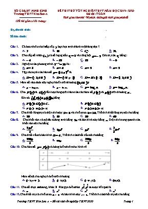 Đề thi thử Tốt nghiệp THPT môn Toán - Năm học 2019-2020 - Trường THPT Kim Sơn A