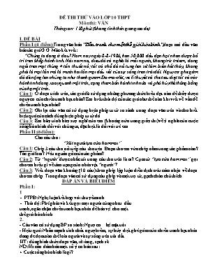 Đề thi thử vào Lớp 10 môn Ngữ văn - Đề số 8