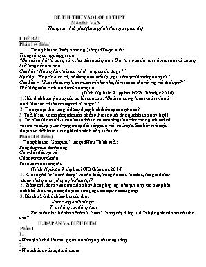 Đề thi thử vào Lớp 10 môn Ngữ văn - Đề số 9