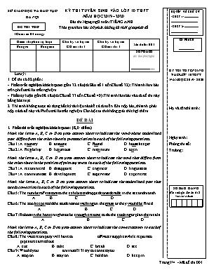 Đề thi thử vào Lớp 10 môn Tiếng Anh - Mã đề 001 - Năm học 2019-2020 - Sở giáo dục và đào tạo Hà Nội