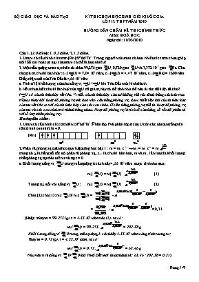 Hướng dẫn chấm đề thi chính thức môn Hóa học - Kỳ thi chọn học sinh giỏi quốc gia Lớp 12 THPT năm 2010
