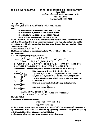 Hướng dẫn chấm đề thi chính thức môn Hóa học - Kỳ thi chọn học sinh giỏi quốc gia THPT năm 2013 - Ngày thứ nhất