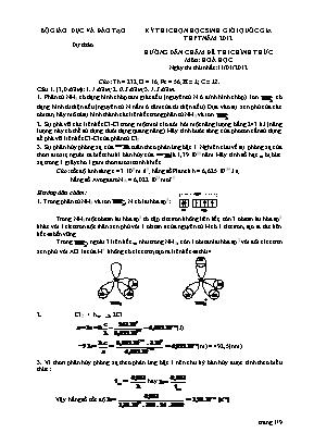 Hướng dẫn chấm đề thi chính thức môn Hóa học - Kỳ thi chọn học sinh giỏi quốc gia THTP năm 2012 - Ngày 1