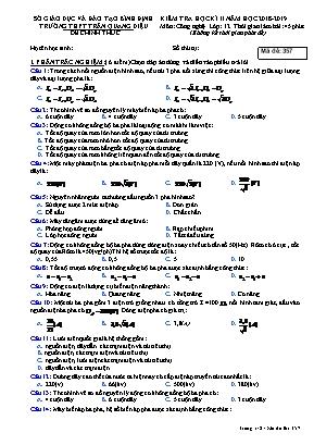Kiểm tra học kỳ 2 môn Công nghệ Lớp 12 (Mã đề 357) - Năm học 2018-2019 - Trường THPT Trần Quang Diệu