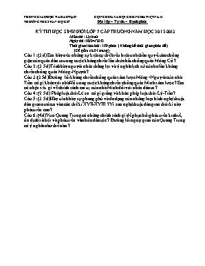 Kỳ thi học sinh giỏi lớp 7 cấp trường môn Lịch sử - Năm học 2012-2013 - Trường THCS Tân Hộ Cơ