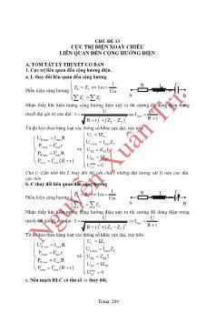 Luyện thi Tốt nghiệp THPT môn Vật lý: Chủ đề 13: Cực trị điện xoay chiều liên quan đến cộng hưởng điện - Nguyễn Xuân Trị