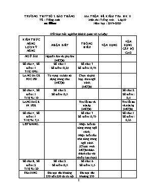 Ma trận đề kiểm tra học kỳ II môn Tiếng Anh Lớp 10 - Năm học 2019-2020 - Trường THPT số 2 Bảo Thắng
