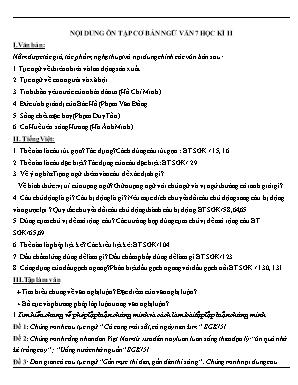 Nội dung ôn tập cơ bản Ngữ văn 7 - Học kì II