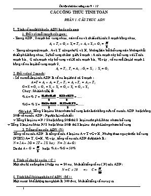 Ôn tập Sinh học nâng cao 9+12: Các công thức tính toán