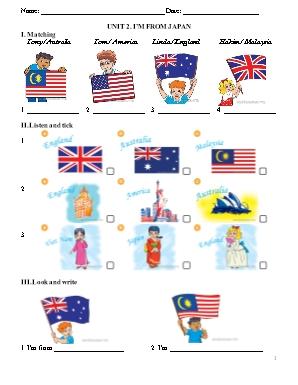 Thí điểm đề cương ôn thi môn Tiếng Anh Lớp 4 - Unit 2: Im from Japan