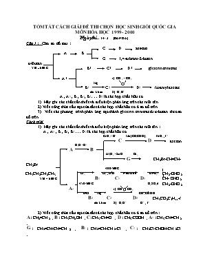 Tóm tắt cách giải đề thi chọn học sinh giỏi quốc gia môn Hóa học 1999-2000