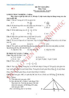 10 Đề ôn thi vào Lớp 6 môn Toán - Nguyễn Thiên Hương