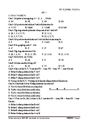 5 Đề ôn tập thi học kỳ I môn Toán Lớp 6