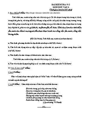 Bài kiểm tra học kỳ II môn Ngữ văn Lớp 8